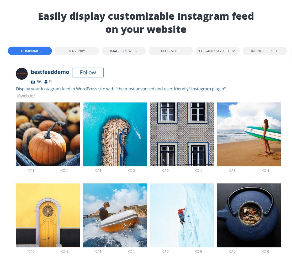 10Web, Instagram feed plugins