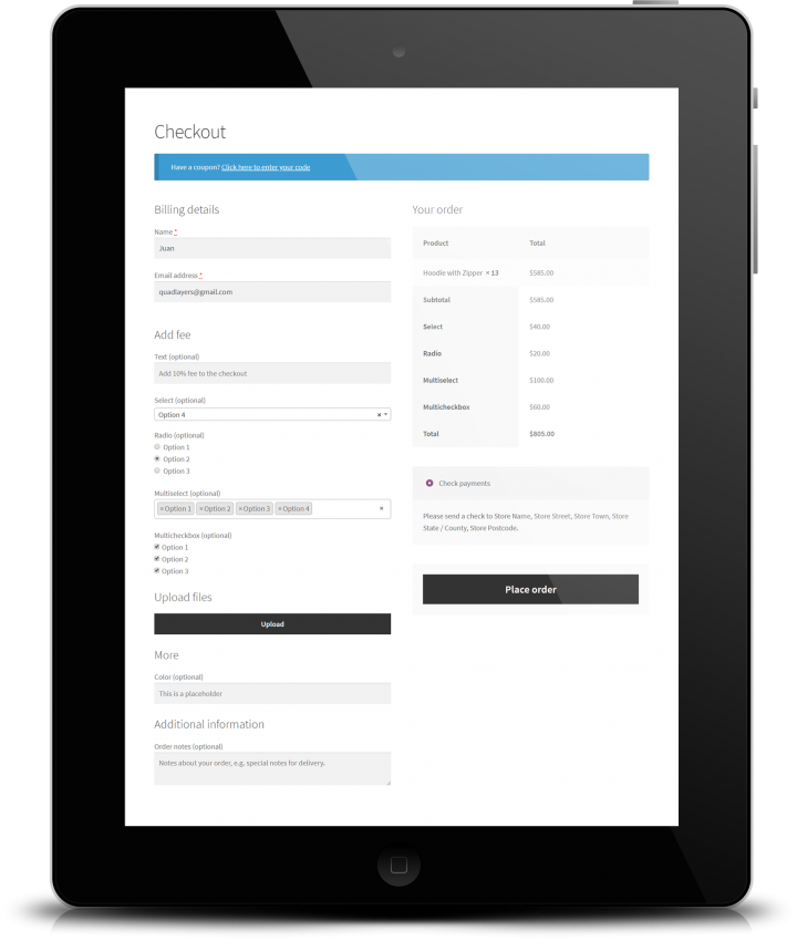 woocommerce checkout manager add field fees uai