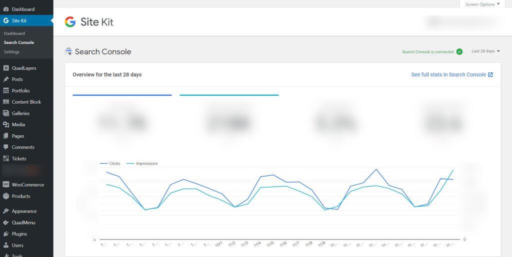 Google Site Kit WordPress - Search console