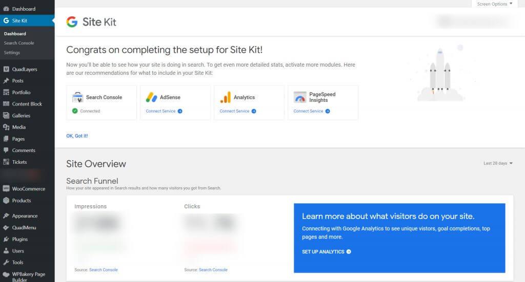 Google Site Kit WordPress - dashboard ui
