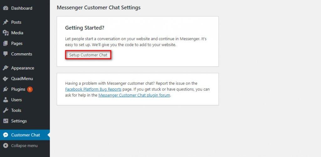 WordPress Messenger Chat - customer chat setup