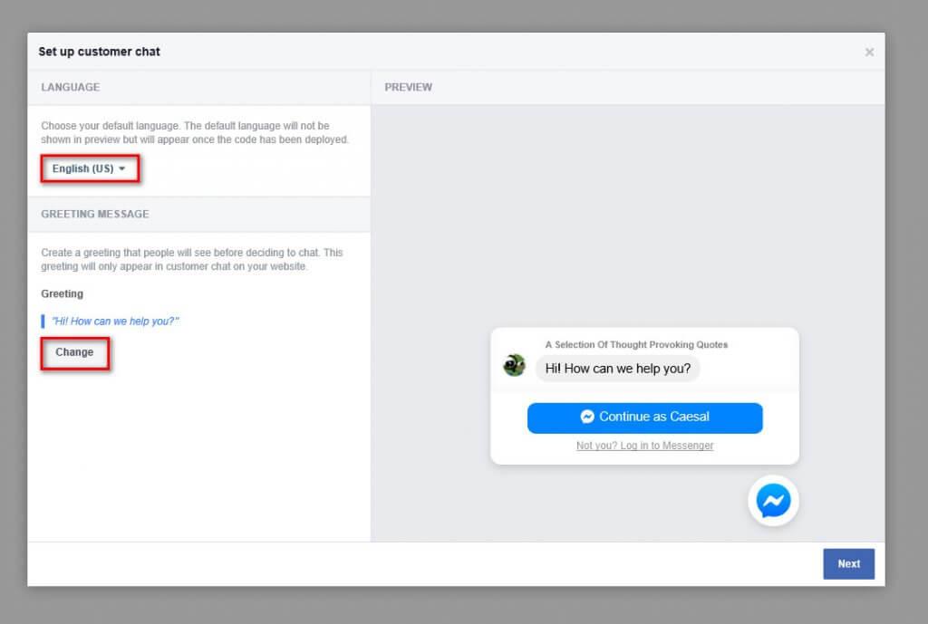 WordPress Messenger Chat - language and greeting