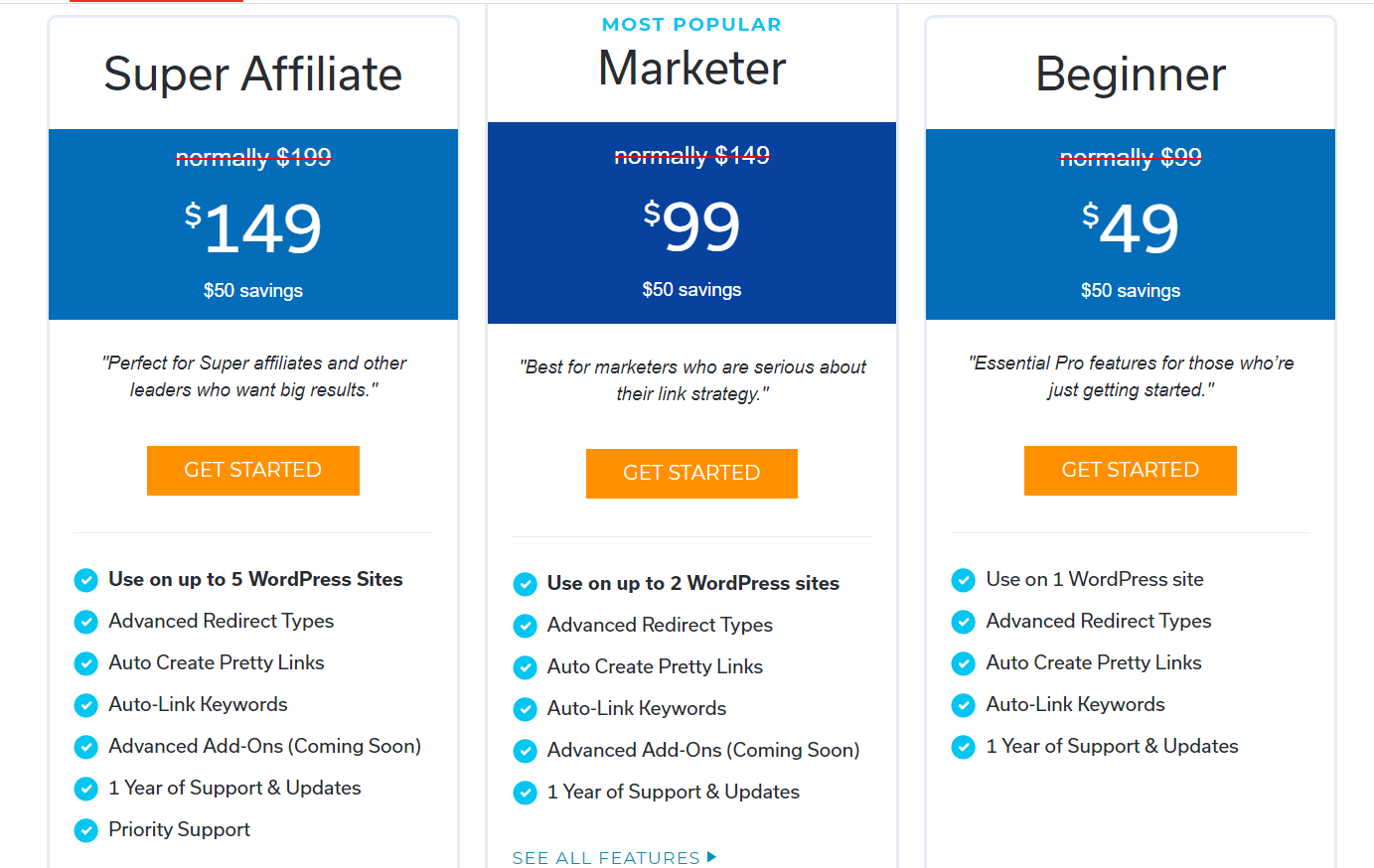 pretty links pricing
