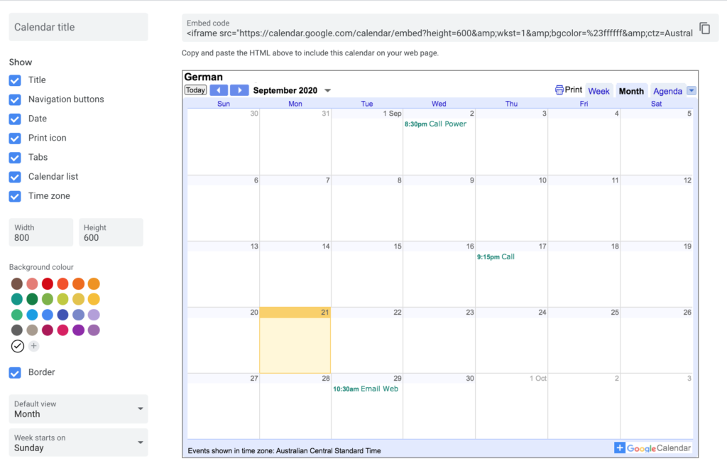 Add Google Calendar to WordPress - Customise Calendar
