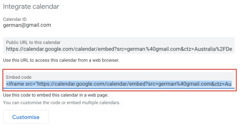Add Google Calendar to WordPress - Embed code