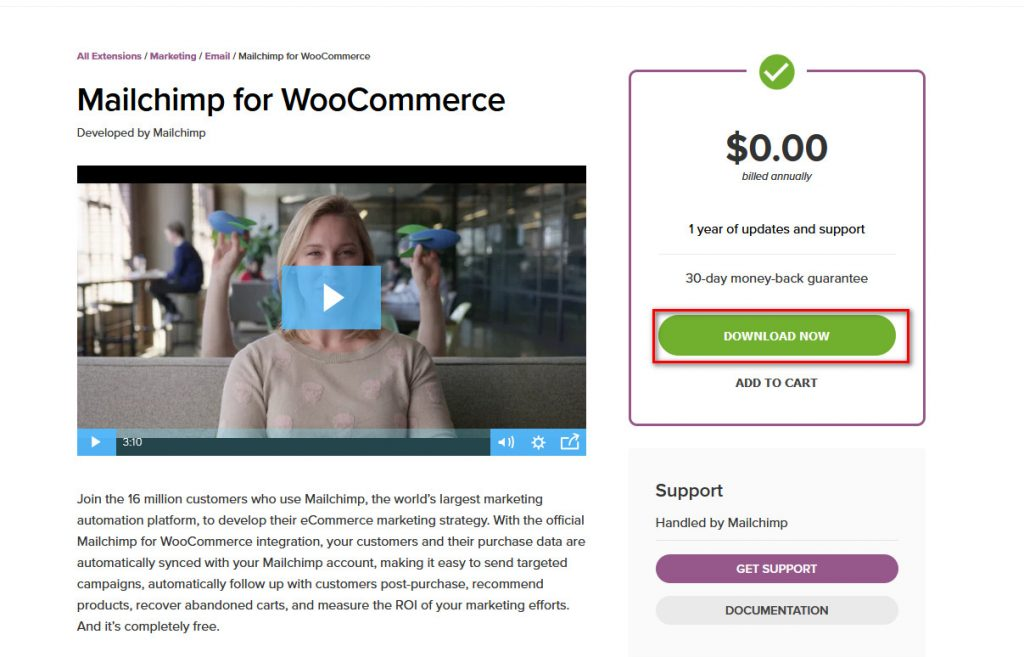 MailChimp woocommerce - download