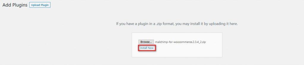 MailChimp woocommerce - install plugin