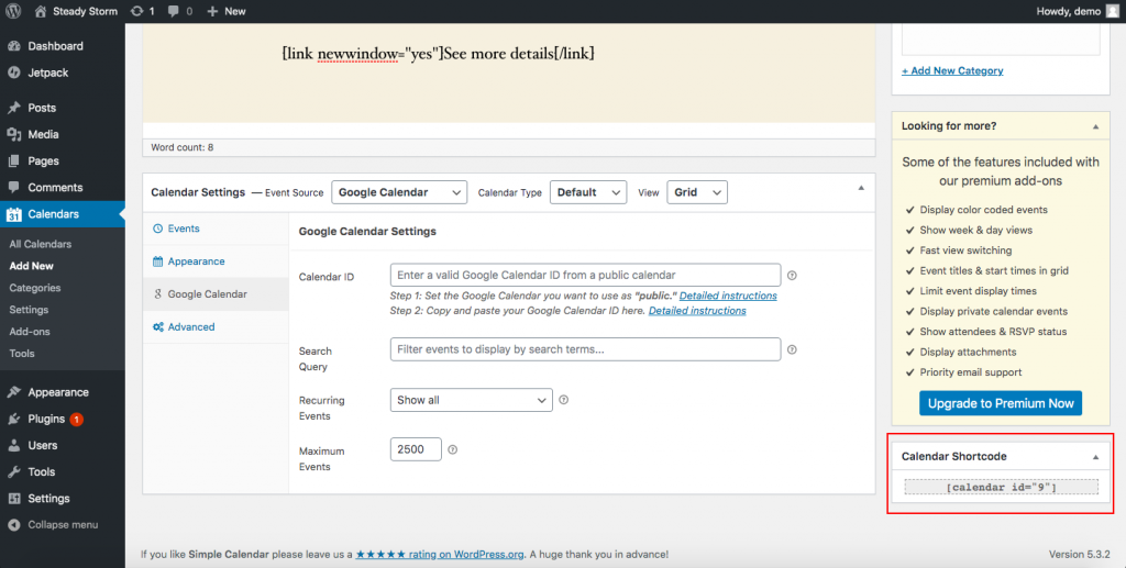 Add Google Calendar to WordPress - Shortcodes