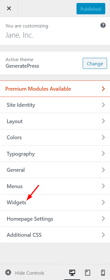 Edit WordPress footer - Customize the widget