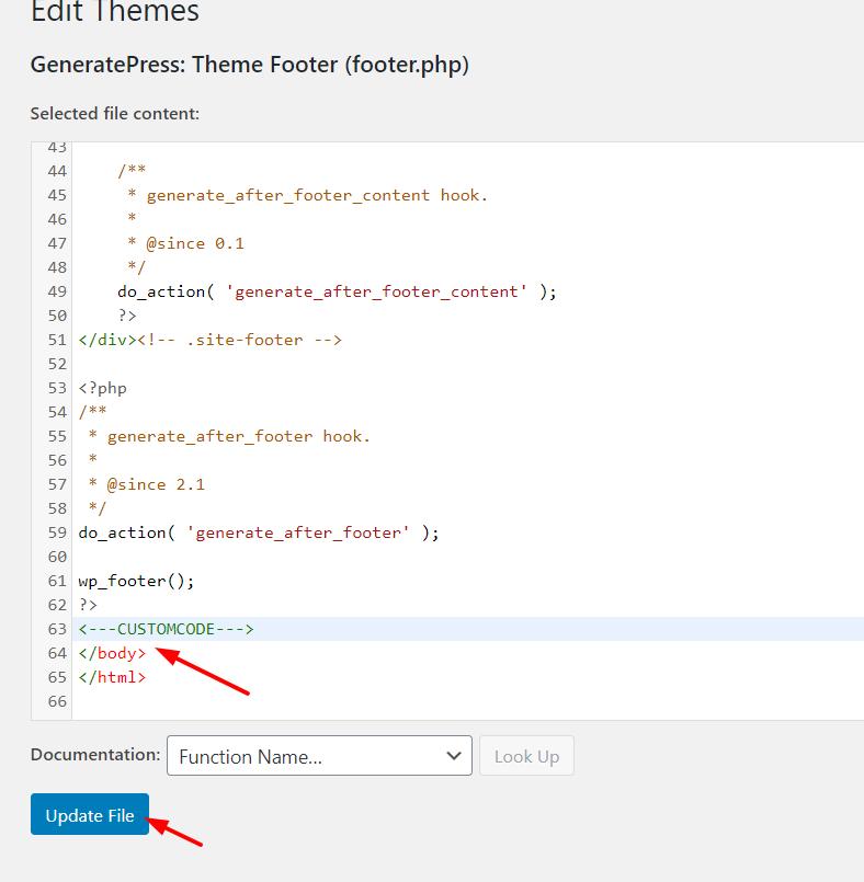 Edit WordPress footer - Theme Editor