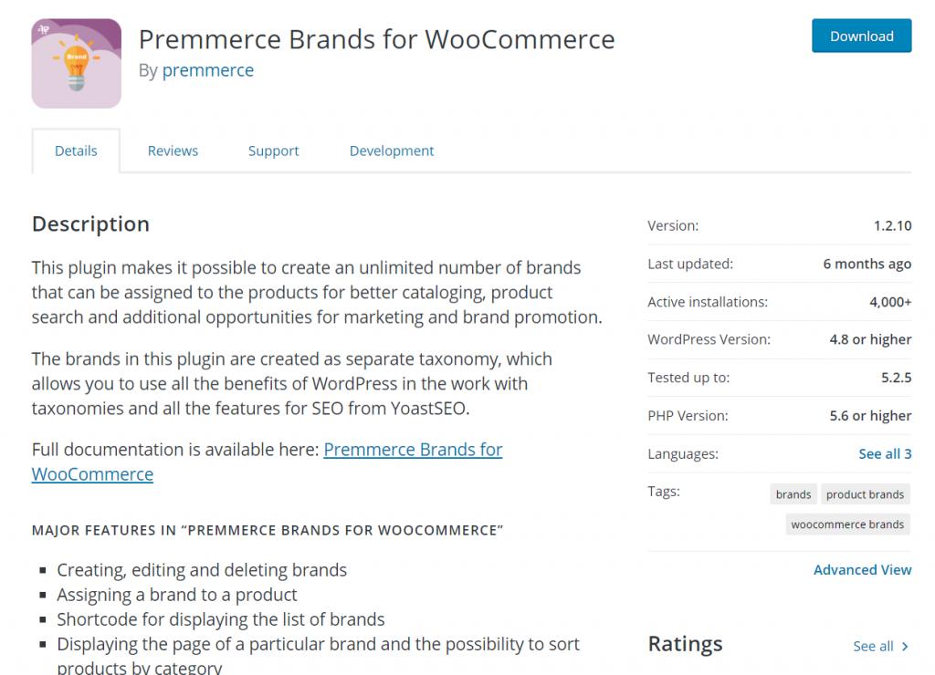 woocommerce brand plugins - Premmerce brands