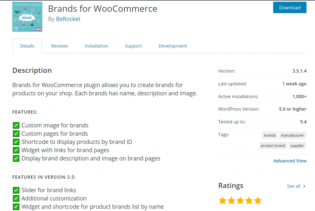 woocommerce brand plugins - Brands for WooCommerce