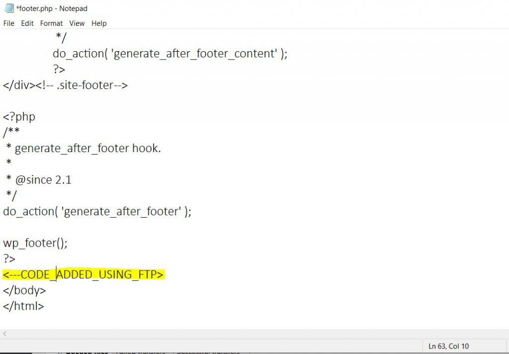 Edit WordPress footer - FTP code