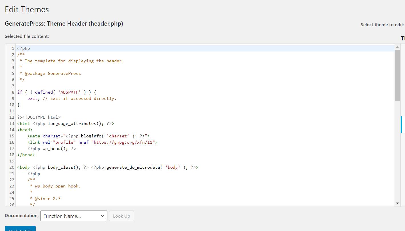 Edit Header In WordPress via header.php file