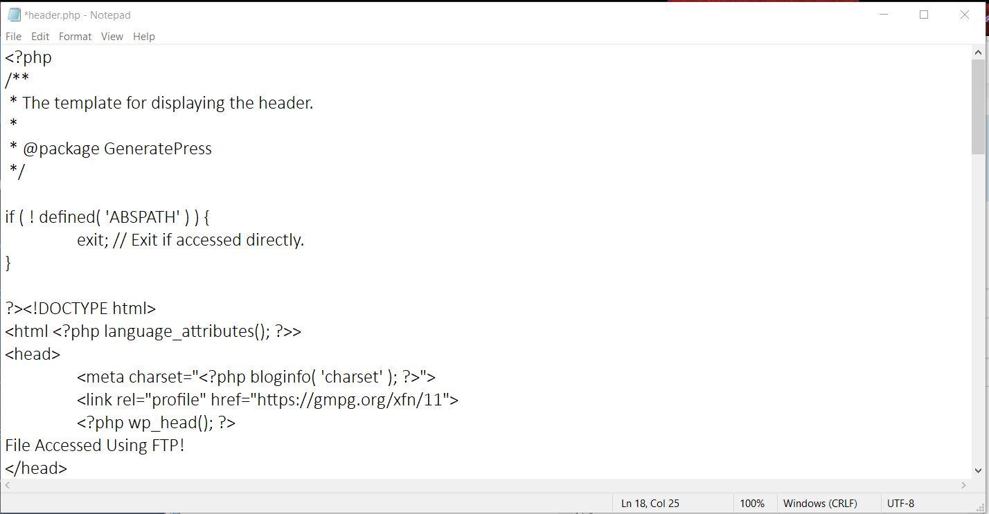 Edit Header In WordPress via FTP