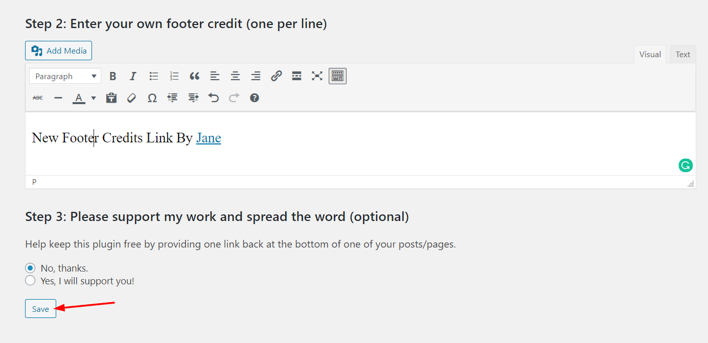 Edit WordPress footer - Customized footer