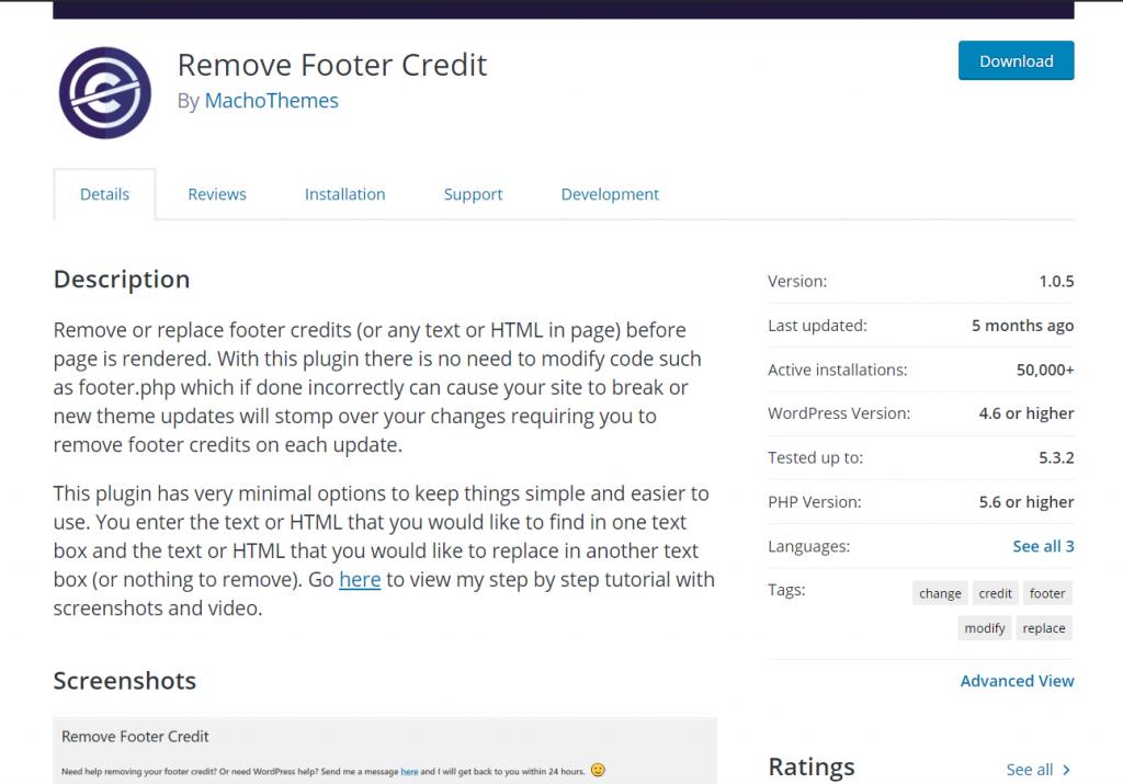 Edit WordPress footer - Remove footer credit