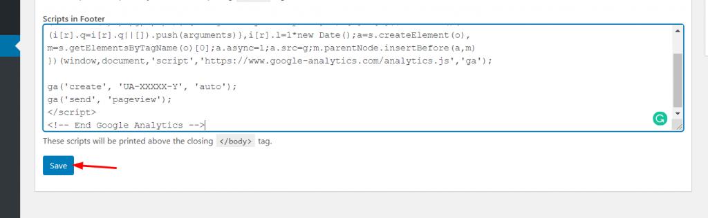 Edit WordPress footer - Google Analytics code