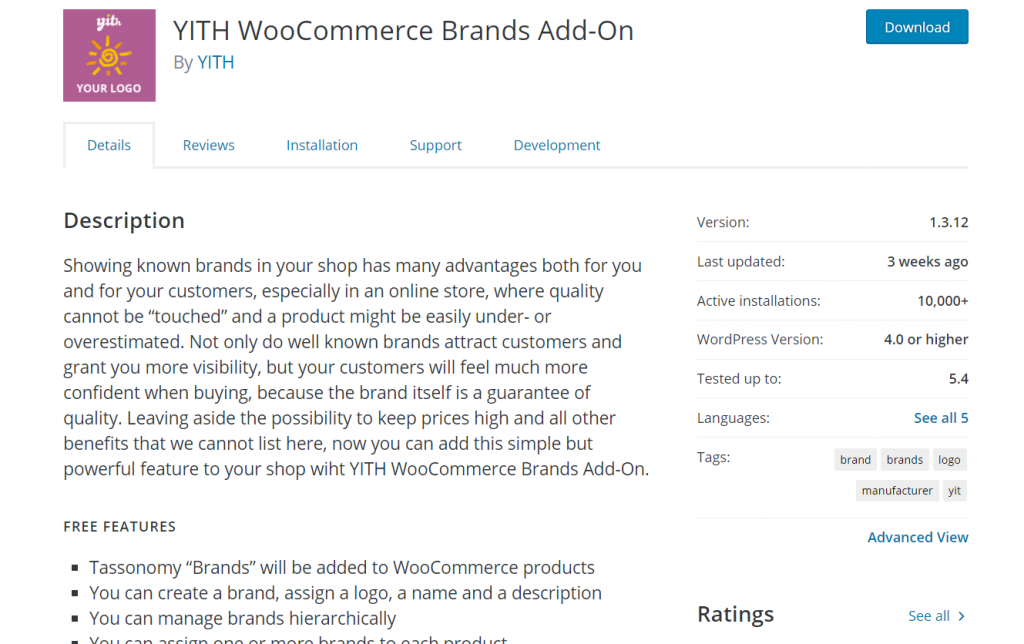 woocommerce brand plugins - YITH woocommerce brands