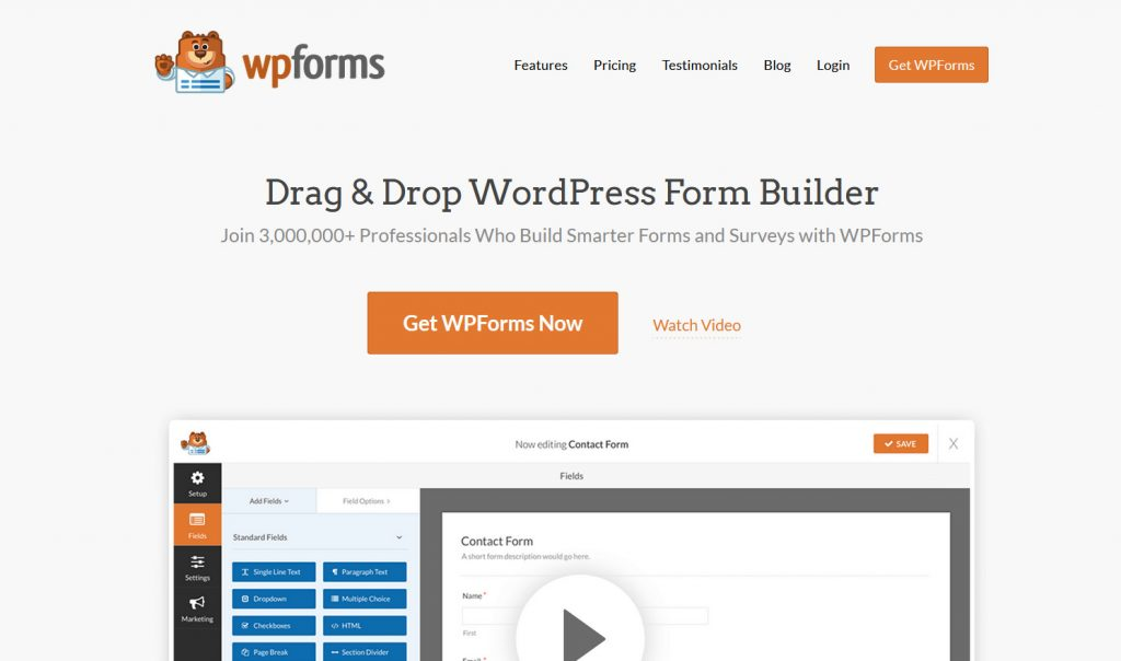 best contact forms for WordPress - WPforms