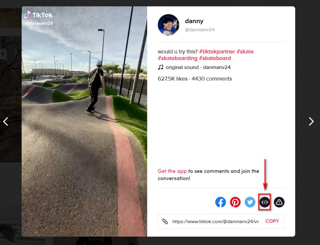 how to embed tiktok videos in WordPress - embed button