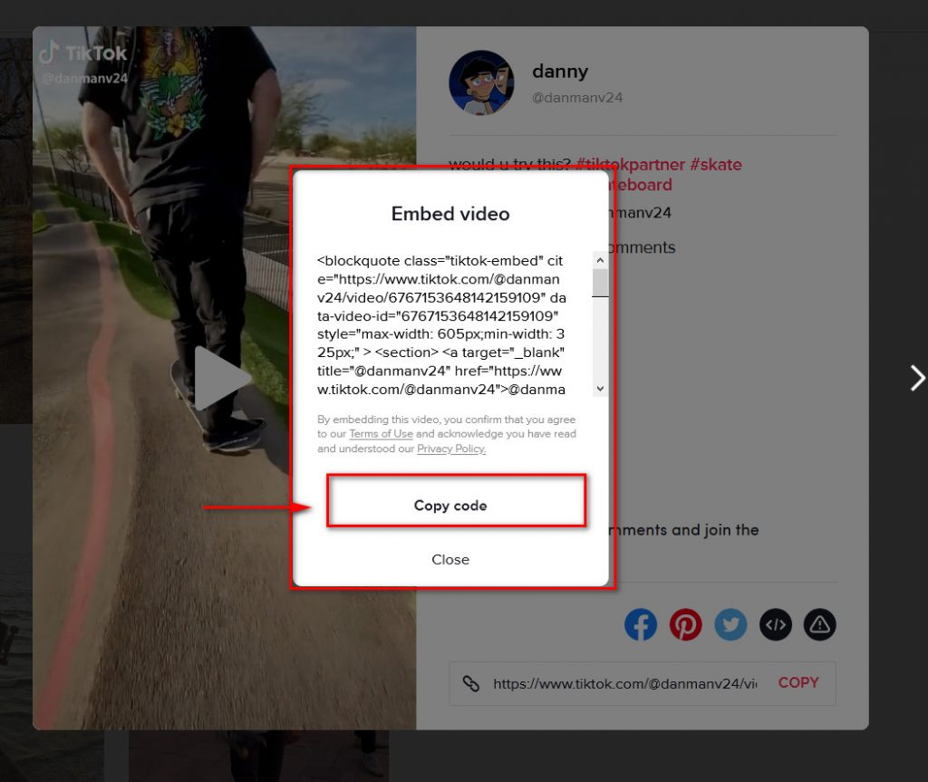 how to embed tiktok videos in WordPress - embed code