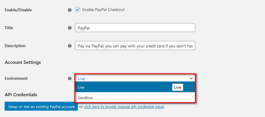 woocommerce paypal - live environment