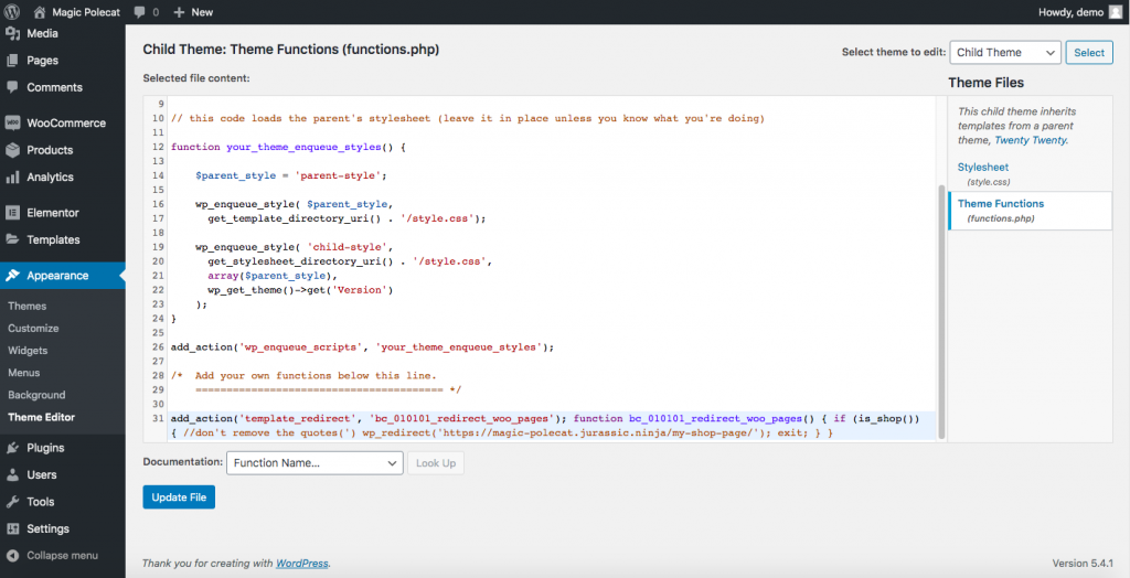 Customize WooCommerce Shop Page functions.php