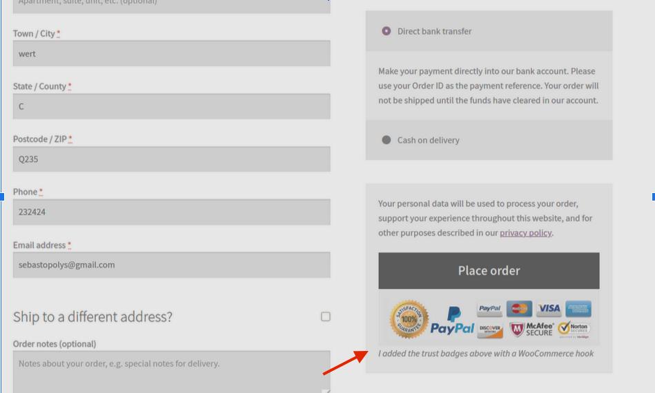 WooCommerce checkout hooks - trust-badges-checkout