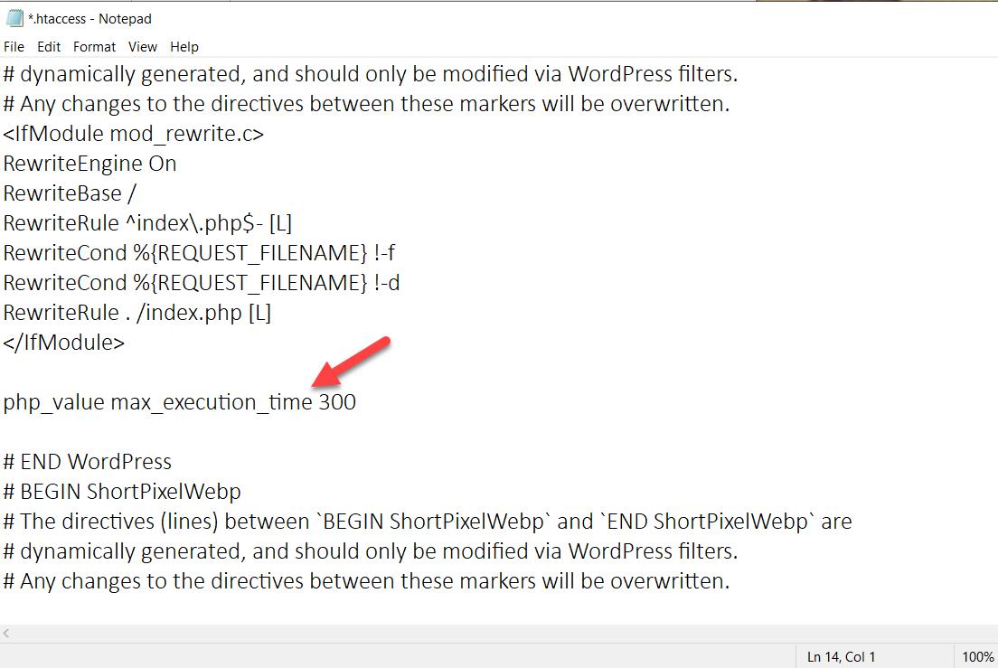 Fix Maximum Execution Time Exceeded Error - htaccess file