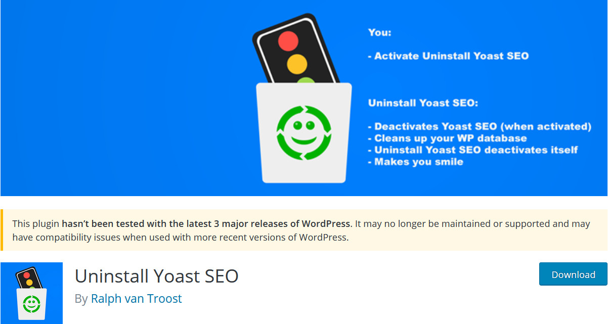 remove yoast seo from database - uninstall yoast SEO