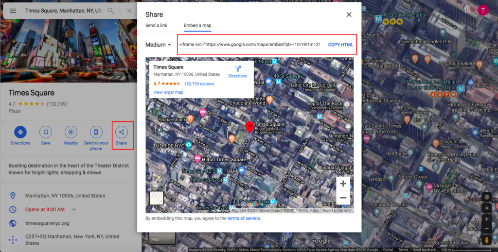 Integrate Google Maps with WordPress - HTML code