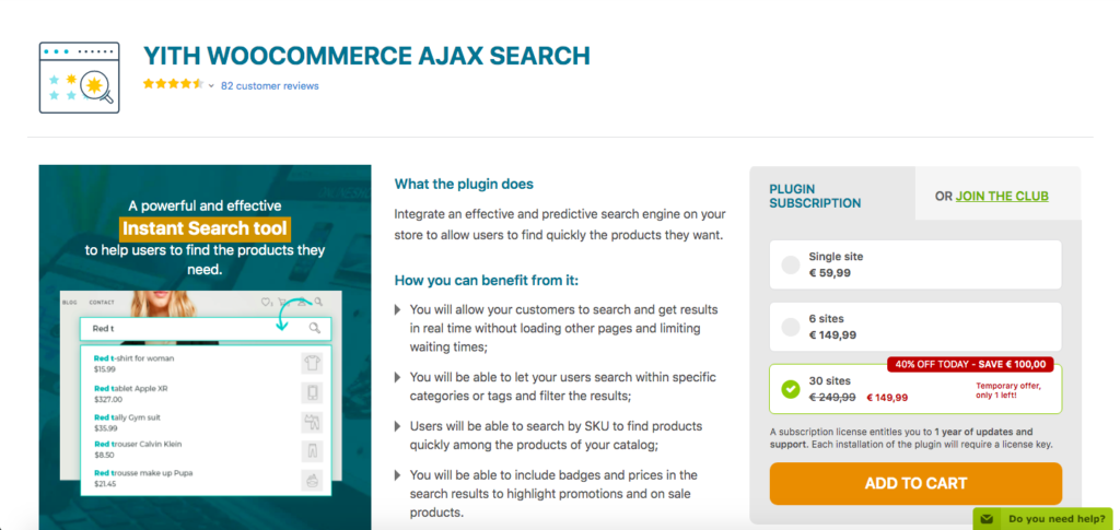 Best WooCommerce Product Search Plugins - YITH WC AJAX Search