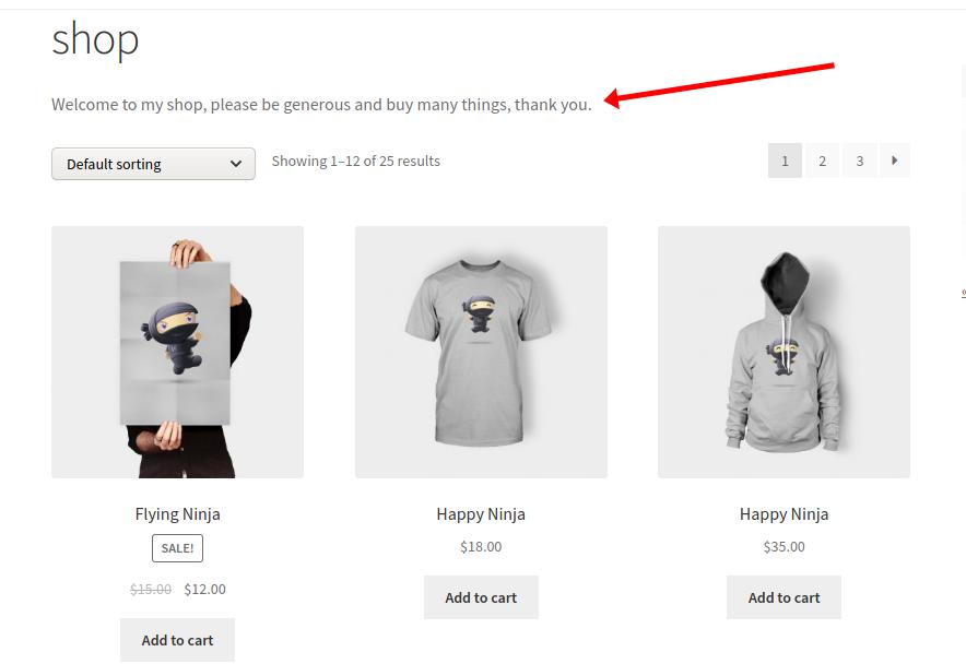 Add description to WooCommerce shop page