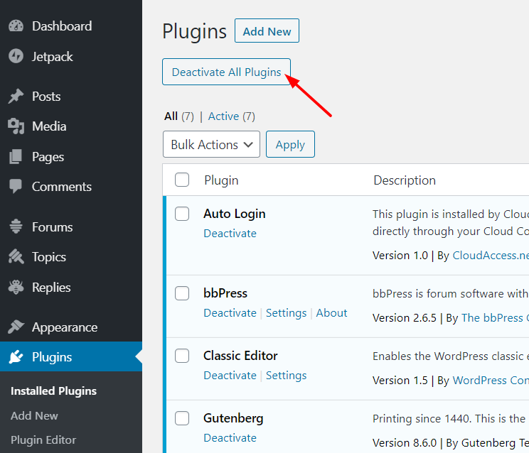 Deactivate WordPress Plugins In Bulk with a plugin