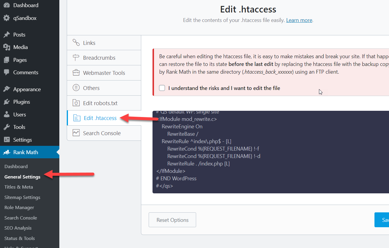 Fix htaccess file in WordPress with Rank Math