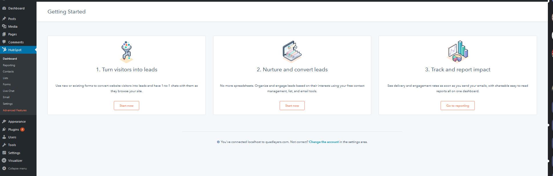 integrate wordpress with hubspot - hubspot dashboard
