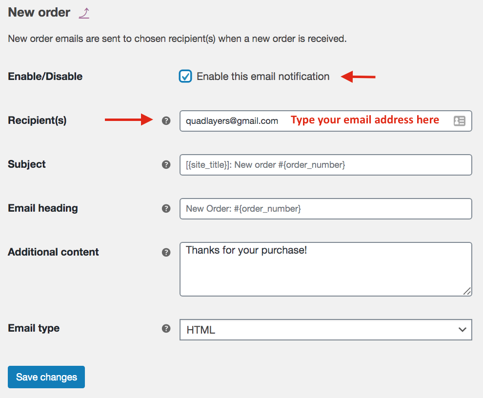 test WooCommerce email templates - New orders template