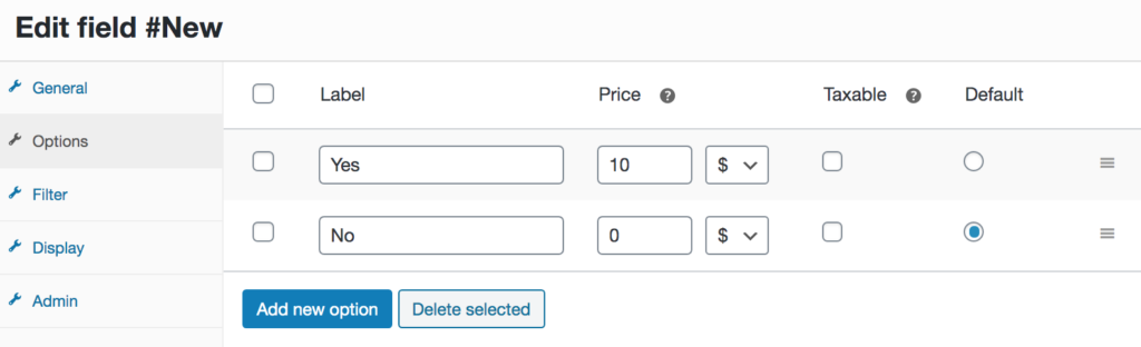 Add fees to checkout - Options