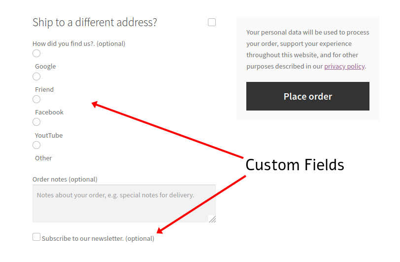 Add custom fields to woocommerce checkout page