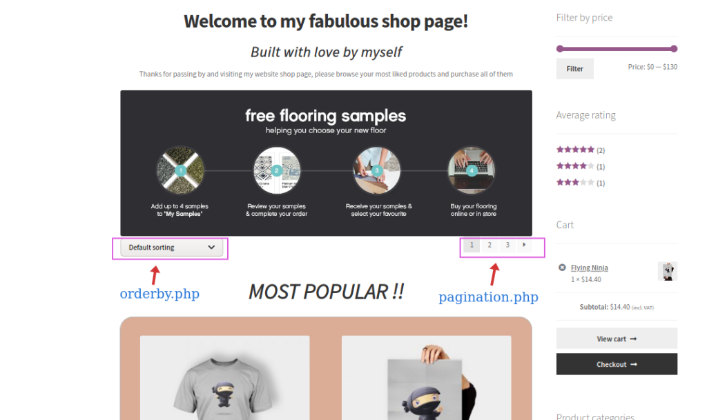 edit WooCommerce shop page programmatically - Sorting and pagination