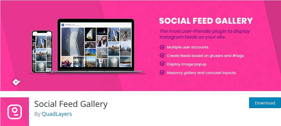 integrate wordpress with instagram - social media gallery plugin