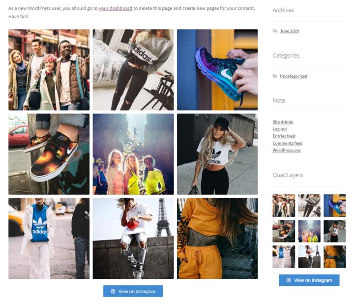 integrate wordpress with instagram - widget sidebar