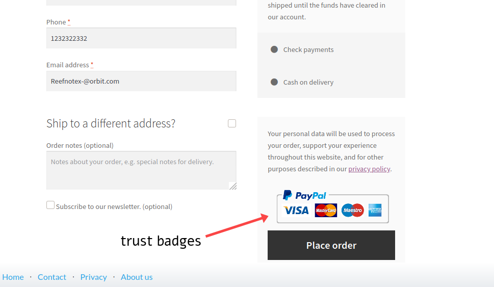 add trust badges to woocommerce checkout page
