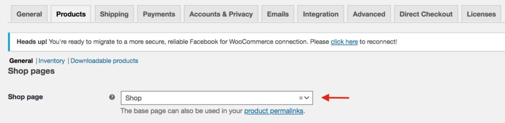 Fix WooCommerce shop page empty - Shop page configuration