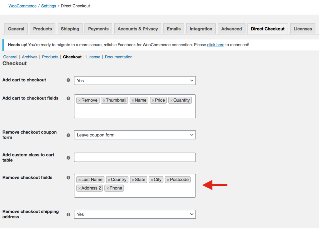 Remove zip code field with WooCommerce Direct Checkout