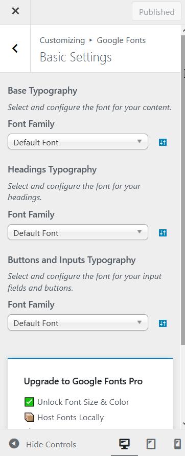add google fonts to wordpress - Google Fonts basic settings