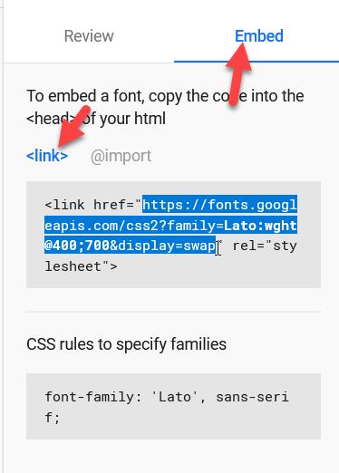add google fonts to wordpress - Embed method