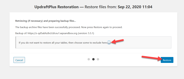 restore mysql tables