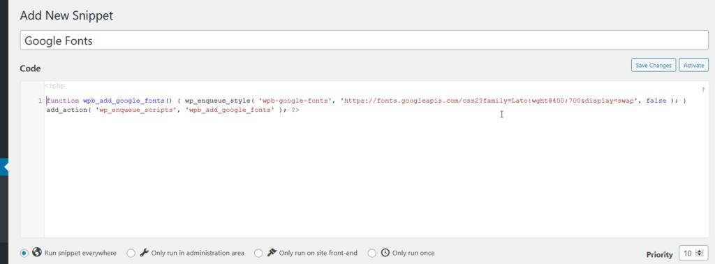 add google fonts to wordpress - Add snippet
